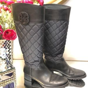 TORY BURCH Black Leather Quilted Boots